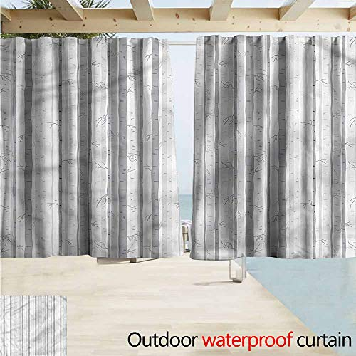 Rod Pocket Blackout Curtain Panels Grey and White Birch Tree Woods Room Darkening, Noise Reducing W55x39L Inches ()