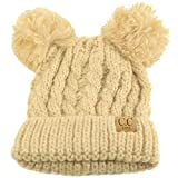 dcef05022c8fe Kids Ages 2-7 Pom Pom Ears Chunky Thick Stretchy Knit Soft Beanie Hat Beige