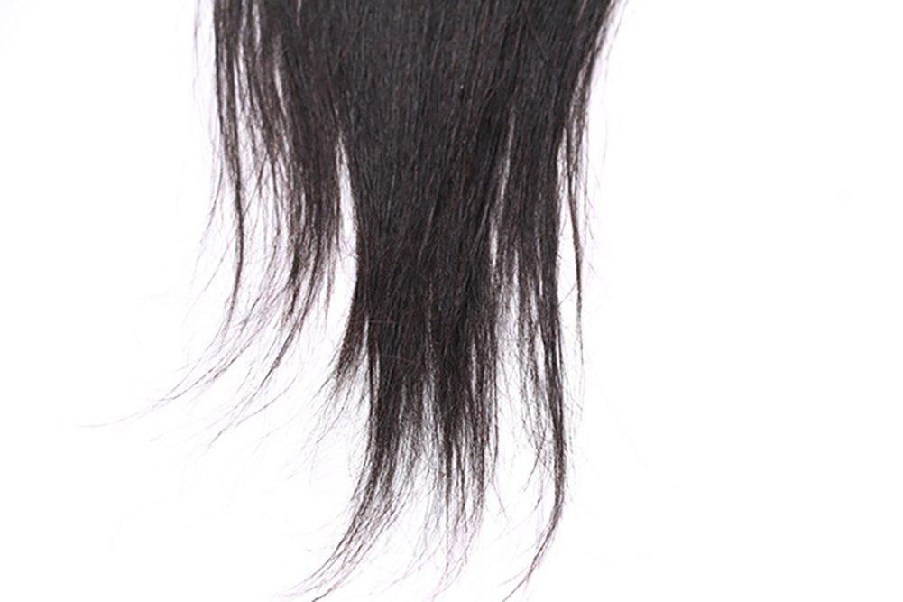 4x4 pieza de cabello humano de división media de onda recta de encaje del pelo  en forma de peluca verdadera cabeza recoger Color natural Shun grasa parte  ... d31c64c02cb3