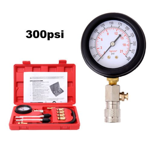 Ambienceo 0-300PSI New 8 Pcs Automotive Car Motorcycle Petrol Gas Engine Cylinder Compression Tester Gauge Tool Kit by Ambienceo