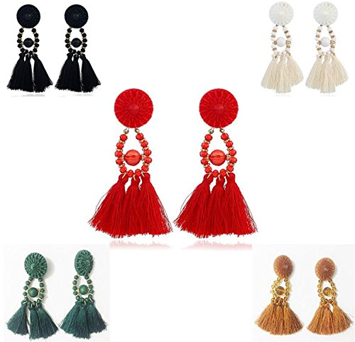 5 Pairs/Sets Jewelry for Women Bohemia Style Crystal Accessories Party Earrings Cotton Wire Tassel Stud Earring bling bling137