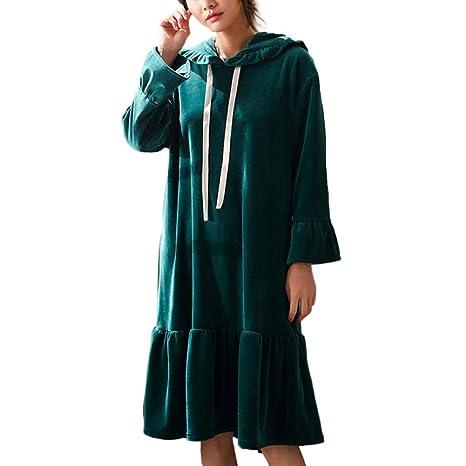 OLLIUGE Pijamas para Mujer Coral De Lana De Las Mujeres Cálido Camisón Pijamas con Capucha Súper