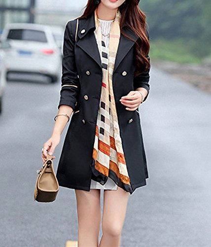 Coat Lapel Trench Women Black Long Double Breasted Tops VERYCO Casual Spring Outwear Jacket x6FEIwIqR