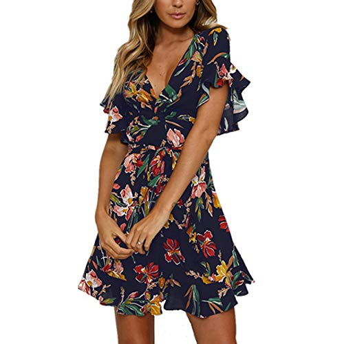 Fashionme Casual Ruffled Sleeve Asymmetric Cross V-Neck Dress Floral Print Short Mini Summer Dress for Women (Dark Blue, - Frill Chiffon
