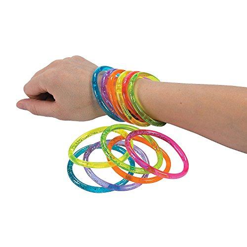Fun Express Water Glitter Bracelets - 12 Piece Pack