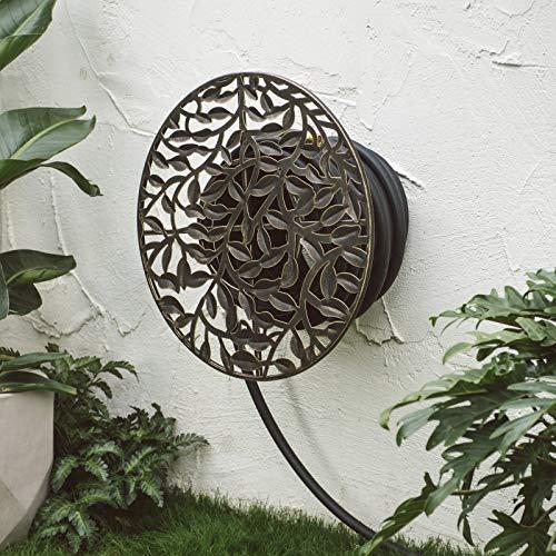 Home Improvements Outdoor Living Garden Iron Metal Wall Mounted Hose Holder - Black Finish Ivy Leaf Design