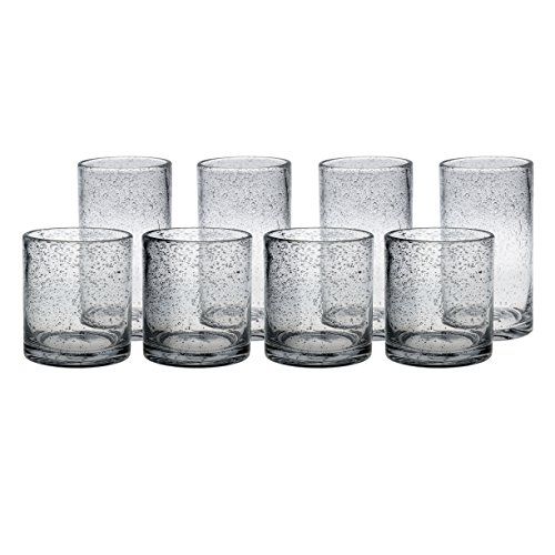 Artland Iris Clear Seeded 8 Piece Double Old Fashioned Glass and Highball Tumbler Set