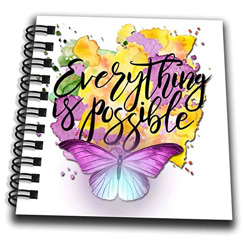 Possible Notepad - 3dRose SpiritualAwakenings Words to Live by - Everything is Possible Beautiful Inspiration with Butterfly - Mini Notepad 4 x 4 inch (db_308294_3)