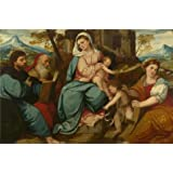 Cotton Canvas ,the Amazing Art Decorative Canvas Prints of oil painting 'Bonifazio di Pitati - The Madonna and Child with Saints,about 1530', 12x18 inch / 30x46 cm is best for Game Room artwork and Home gallery art and Gifts