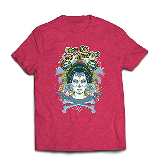 lepni.me Men's T-Shirt Dia de Los Muertos - Day of The Dead (Small Heather Red Multi -