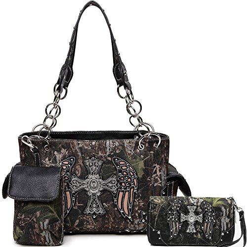 Cowgirl Trendy Western Concealed Carry Camouflage Cross Purse Handbag Shoulder Bag Wallet Set Black - Camouflage Buckle