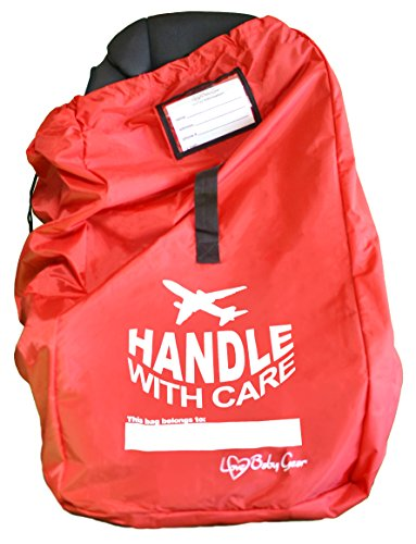 Durable Car Seat Travel Bag for Airport Gate Check - Double Strength Top Grade Ballistic Nylon Water Resistant, Perfect for Airplane Travel or Storage, Love Baby Gear Red (B Agile Car Seat Covers compare prices)