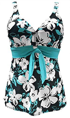 Gabrielle-Aug Women's Vintage Floral Tie-Front Tankini Top Swimsuit(FBA) (16, Blue)