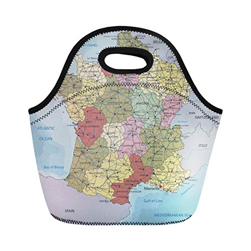 Semtomn Neoprene Lunch Tote Bag Blue Atlantic Detailed France Political Map Atlas Bathymetry Bordeaux Reusable Cooler Bags Insulated Thermal Picnic Handbag for ()