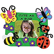 """12 ~ Cute As a Bug Photo Frame Magnet Foam Craft Kits ~ 5"""" X 4"""" with a 3"""" X 2 1/8"""" Photo Space ~ New / Individually Packaged"""