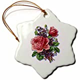 3dRose orn_170793_1 Bouquet of Pretty Pink Victorian Roses with Purple Violets Snowflake Ornament, Porcelain, 3-Inch