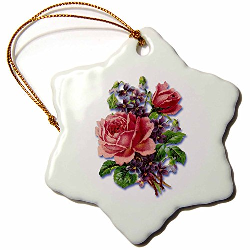 3dRose orn_170793_1 Bouquet of Pretty Pink Victorian Roses with Purple Violets Snowflake Ornament, Porcelain, 3-Inch by 3dRose