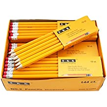 SKKSTATIONERY Pre-sharpened pencils, Pencils Sharpened with eraser top, #2 HB pencil, 144/box.