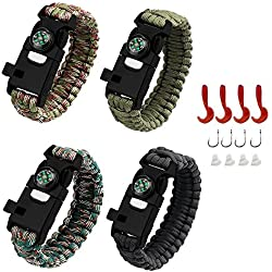 AMOSTING 4PCS Survival Bracelet, Multifunctional Adventure Outdoor Paracord Bracelet with Flint Fire Starter,Compass, Whistle&Knife, Food Fishing GearScraper for Hiking Camping Emergency