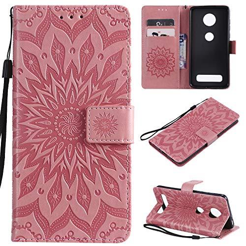 Cmeka 3D Sunflower Wallet Case for Motorola Moto Z4 Play Slim Flip Leather Protective Case,Magnetic Closure,Credit Card Slots Holder,Kickstand Function Pink