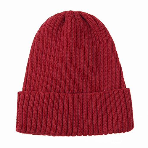 WITHMOONS Knitted Ribbed Beanie Hat Basic Plain Solid Watch Cap AC5846 (Red)