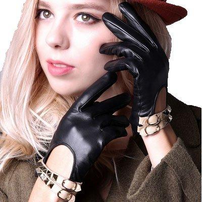 マルクス主義者ウィザード幻滅するラムレザー スタッズ 人気 レザー 手袋 レディース 大人 女性 用 かっこいい 革 手ぶくろ 冬 防寒 グローブ 暖かい 黒 ブラック (M)