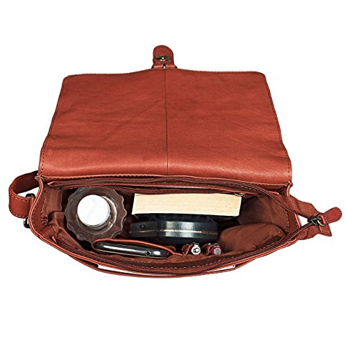 STILORD 'Jonas' Bolsa de Mensajero para hombre marrón bolso bandolera bolso de piel cremallera para tablets hasta 10,1 pulgadas de piel auténtica, Color:cognac - used cognac-marrón