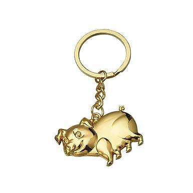 Leedy - Llavero de cerdo zodiaco con colgante de metal ...