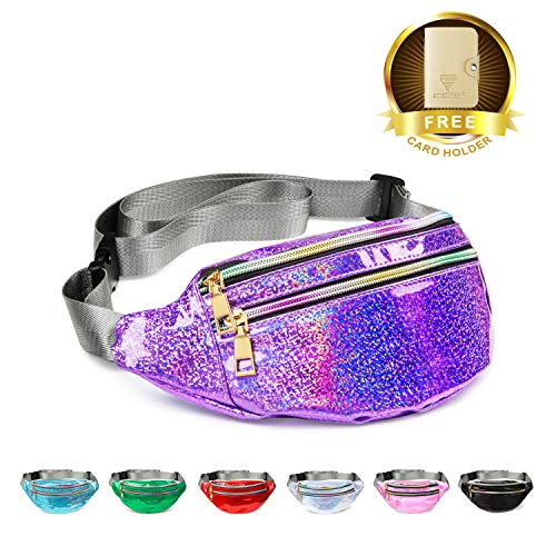 Fanny Pack Belt Bag, Holographic Fanny Packs for Women Men Kids, Fashion Waterproof Waist Pack with 3 Pouches Adjustable Strap, Shiny Causal Bags Cute Bum Bag Hip Sacks for Travel -