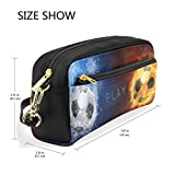 Pencil Case Large Capacity Holders Water Fire Flames Soccer Ball Football Pen Stationery Pouch Bag with Zipper Makeup