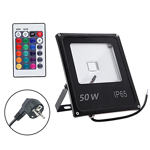 GLW 50W RGB Fluter mit Fernbedienung,Außenleuchten Wasserdicht IP65 Farbwechsel LED Flutlicht,Insgesamt 16 Farben 4 Modi,Memory-Funktion multi Farbe LED Strahler,Europäischer Stecker