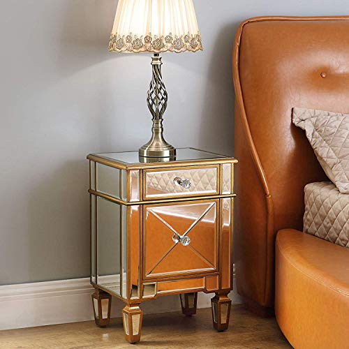 Mirrored Nightstand Bedside End Table, GA Home Storage Accent Chest 1 Drawer 1 Cabinet with Faux Wood Frame and Mirror Finish, Antique Gold (Cabinets Mirrored Bedside)