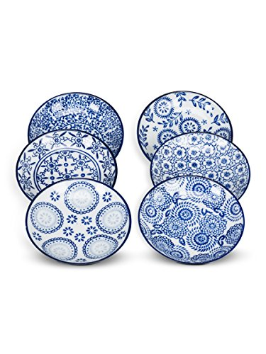 Set of 6 Assorted Porcelain Blue & White Round Shallow Dish Appetizer Plate