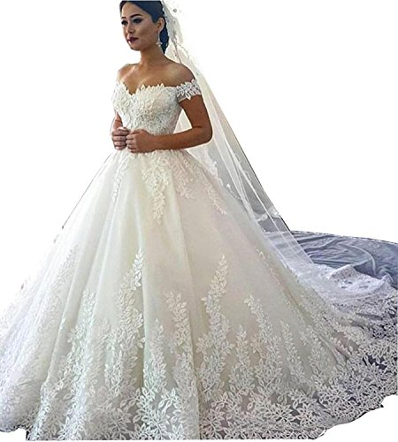 Meledy Women\'s Lace Wedding Dresses for Bride Ball Gown Train Bridal Gown  Plus Size Ivory US26