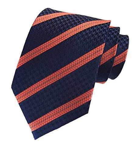 New Classic Navy Orange Striped Tie Woven Jacquard Silk Men's Suits Ties Necktie