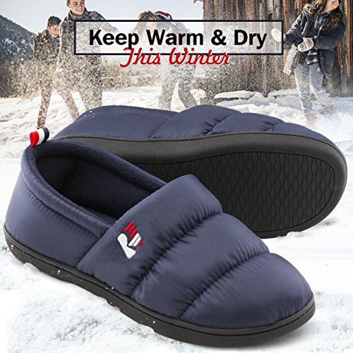 Pictures of RockDove Men's Down Memory Foam Slippers Navy Blue 5