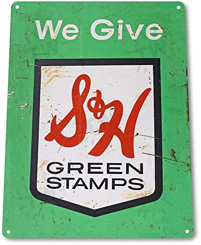 NGFD TIN Sign S & H Green Stamps Metal Decor Art Kitchen Store Shop A601
