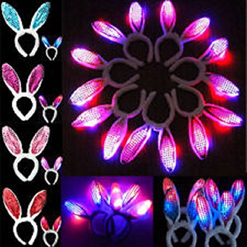 [LED Light Up Flashing Holiday Party Headbands - Various Styles by Mammoth Sales (Sequin Bunny Ears)] (Bunny Costumes For Teens)