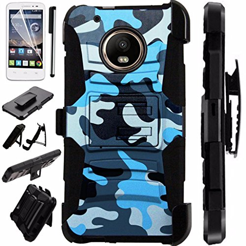 For Motorola Moto Z2 Force / Motorola Moto Z2 Play Case Armor Hybrid Case Silicone Cover Kick Stand LuxGuard Holster Combo Pack (Blue Camo) - Case Combo Pack