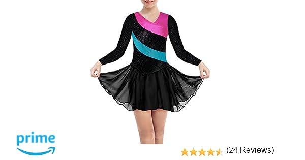 68a0df4c4 DAXIANG Leotardos gimnásticos para niñas Faldas largas sin Mangas con Arco  Iris y Falda de Tul de Ballet