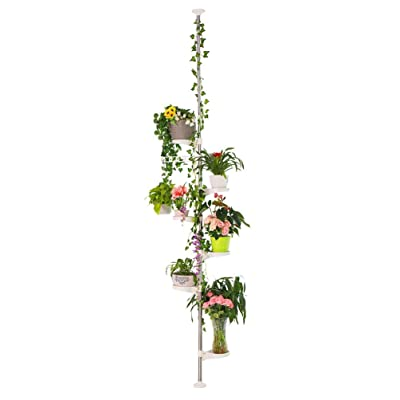 BAOYOUNI 7-Layer Indoor Plant Stands Spring Tension Pole Metal Flower Display Rack Space Saver Corner Floral Pot Hanger Shelf, Ivory (Renewed) : Garden & Outdoor