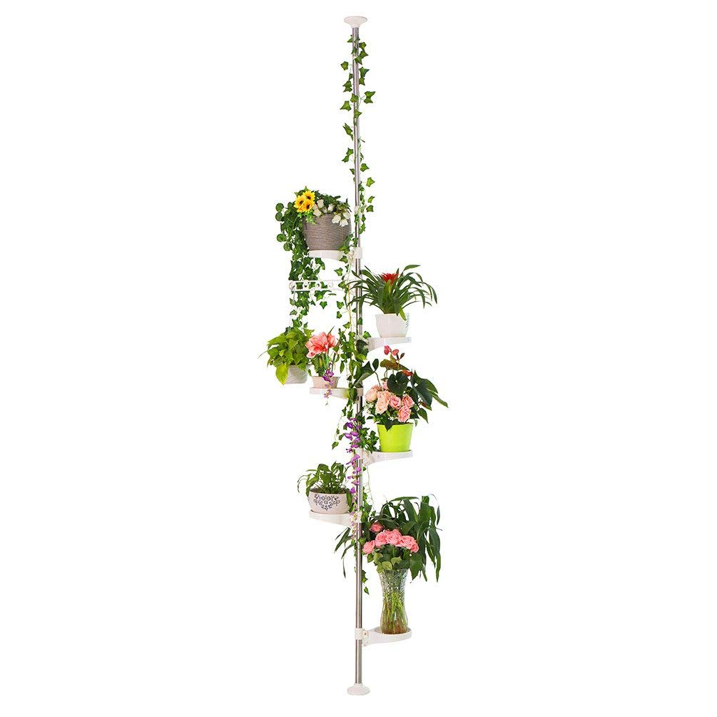 BAOYOUNI 7-Layer Indoor Plant Stands Spring Tension Pole Metal Flower Display Rack Space Saver Corner Floral Pot Hanger Shelf, Ivory (Renewed) by BAOYOUNI