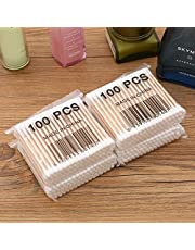 100pcs Wood Stick Cotton Swab Applicator Q-tip Double Wooden Handle Sturdy - White