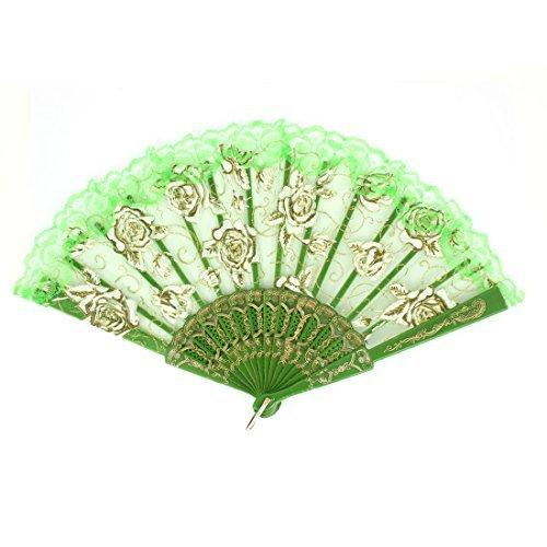 eDealMax Sculpté en Plastique Rib Rose Motif Danse Pliant Fan vert