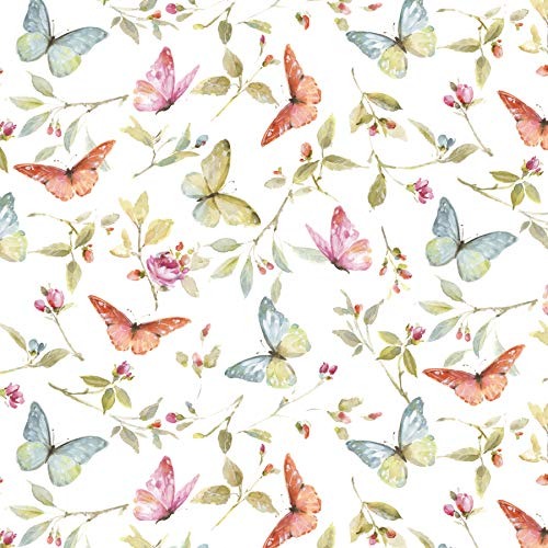 Butterflies & Blossoms Cotton Fabric by The Yard