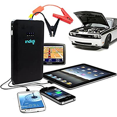 Indigi 8000mAh 3-in-1 Portable Vehicle Jump Starter Power Bank Battery Charger For iPhone iPad Galaxy Phone Tablet Camera GPS (Black)