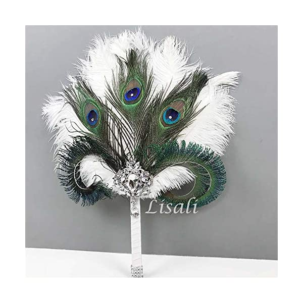 LISALI Peacock Feather Bouquet,Feather Fan, Bridesmaid Peacock Handfasting, Boutonnere,20s Gatsby Vintage Wedding Bouquet (W/Fan)