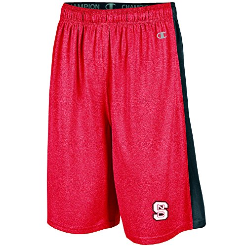 NCAA North Carolina State Wolfpack Men's Heather Jersey Color Blocked Training Shorts, Large, Red Heather