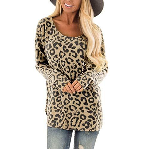 Women's Sexy T-Shirt,LuluZanm Ladies O-Neck Blouse Leopard Print Long Sleeve Tops Khaki