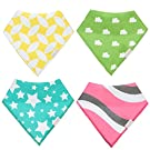 SUPER PRICE 4-pack Drool Baby Bandana Bibs - Soft Organic Cotton with Snaps - Modern Patterns - Unique Baby Shower present for Boys and Girls